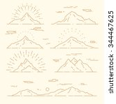 set of mountains  vector... | Shutterstock .eps vector #344467625
