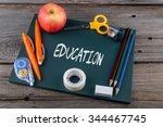 education written on chalkboard ... | Shutterstock . vector #344467745