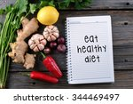eat healthy diet  health... | Shutterstock . vector #344469497