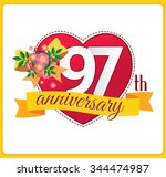 colorful marriage anniversary... | Shutterstock .eps vector #344474987