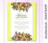 wedding invitation cards with... | Shutterstock .eps vector #344476499