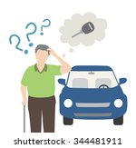 old man forget his car key | Shutterstock .eps vector #344481911