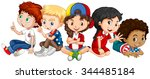 children from many countries... | Shutterstock .eps vector #344485184