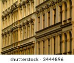 old apartment buildings in Berlin Kreuzberg, built about 100 years ago - stock photo