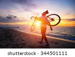 hiker with bicycle watching...   Shutterstock . vector #344501111