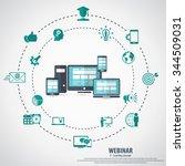 e  learning   webinar concept... | Shutterstock .eps vector #344509031
