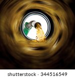 refilling fuel view from inside ... | Shutterstock . vector #344516549