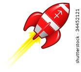 Sagittarius zodiac astrology sign on on red retro rocket ship illustration - stock vector