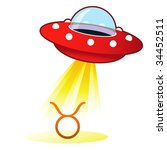 Taurus zodiac astrology sign icon on retro flying saucer UFO with light beam. - stock vector