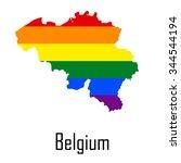vector rainbow map of belgium... | Shutterstock .eps vector #344544194