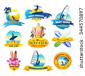 surfing emblems set with...   Shutterstock .eps vector #344570897