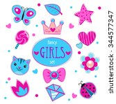 cute girlish set  fancy doodle... | Shutterstock . vector #344577347