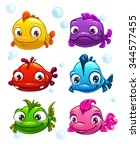 funny cartoon colorful fishes...