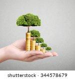 human hand coin to money ... | Shutterstock . vector #344578679