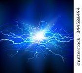blue lightning realistic... | Shutterstock .eps vector #344586494