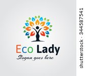 colorful eco lady logo | Shutterstock .eps vector #344587541