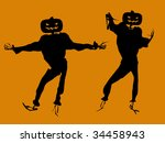a  black halloween illustration ... | Shutterstock . vector #34458943