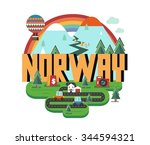 norway in europe is a beautiful ... | Shutterstock .eps vector #344594321