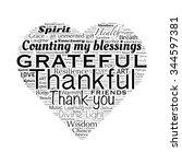 gratitude word cloud in heart... | Shutterstock . vector #344597381