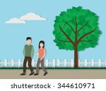 couple walking in the park... | Shutterstock .eps vector #344610971