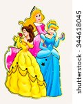 Small photo of ZAGREB , CROATIA - NOVEMBER 24, 2015 : Disney princess , Cinderella, Belle and Aurora cartoon characters from books and movies on magnetic sticker, product shot