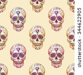 sugar skull. pattern on beige... | Shutterstock . vector #344622905
