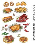 hand drawing food | Shutterstock .eps vector #344624771