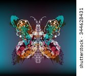 vector decorative butterfly... | Shutterstock .eps vector #344628431