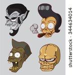 monster heads set. vampire head ... | Shutterstock .eps vector #344634014