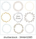 hand drawn vector set of floral ... | Shutterstock .eps vector #344641085