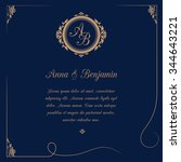 invitation card with monogram... | Shutterstock .eps vector #344643221