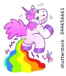 cartoon unicorn pooping rainbow.... | Shutterstock .eps vector #344656661