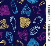 seashell seamless pattern....   Shutterstock .eps vector #344658851