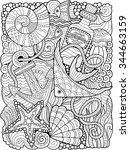 vector. coloring book for adult.... | Shutterstock .eps vector #344663159