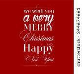merry christmas greetings. flat ... | Shutterstock .eps vector #344674661