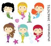 mermaid girls and underwater... | Shutterstock .eps vector #344674751