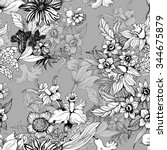 summer garden blooming flowers... | Shutterstock .eps vector #344675879