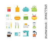 kitchen themed illustration and ... | Shutterstock .eps vector #344677565