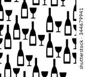 bottle and glasse seamless... | Shutterstock .eps vector #344679941
