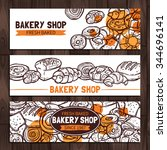 bakery shop design. sketch... | Shutterstock .eps vector #344696141