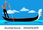 Cartoon Gondolier Rowing A...