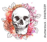 Skull And Flowers. Sketch With...