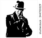 silhouette of a gangster with a ... | Shutterstock .eps vector #344703329
