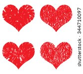 heart icons set  hand drawn... | Shutterstock .eps vector #344710097