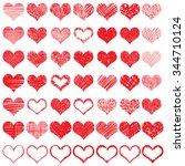 heart icons set  hand drawn...   Shutterstock .eps vector #344710124