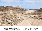 Faro de Punta Martino lighthouse on the island of Lobos or Wolves Island, situated two kilometres north of the island of Fuerteventura, Canary Islands, Spain. - stock photo