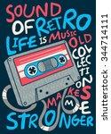 cassette vector design for tee | Shutterstock .eps vector #344714111