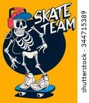vector skateboard skull design | Shutterstock .eps vector #344715389