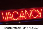 red neon vacancy sign for motel. | Shutterstock . vector #344716967