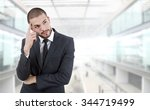 young business man thinking at... | Shutterstock . vector #344719499